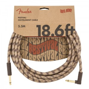 Fender Angled Festival Instrument Cable, Pure Hemp, Brown Stripe (18.6ft)