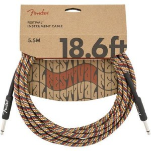 Fender Festival Instrument Cable, Pure Hemp, Rainbow (18.6ft)